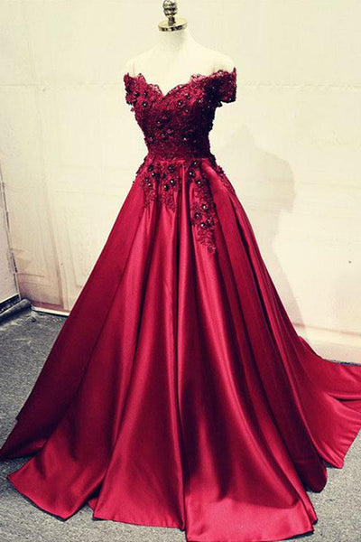 Fashion Off the Shoulder Lace Appliques Burgundy Bead Prom Dresses Formal Evening Gown Dress LD1993