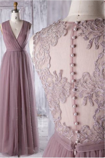 A Line V Neck See Through Back Lace Floor Length Prom Dresses Formal Evening Party Dress LD1995