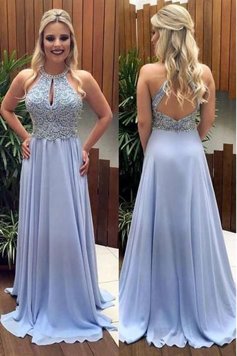 Fashion Open Back Lilac Chiffon Beaded Halter Long Prom Dresses Formal Evening Party Dress LD1996