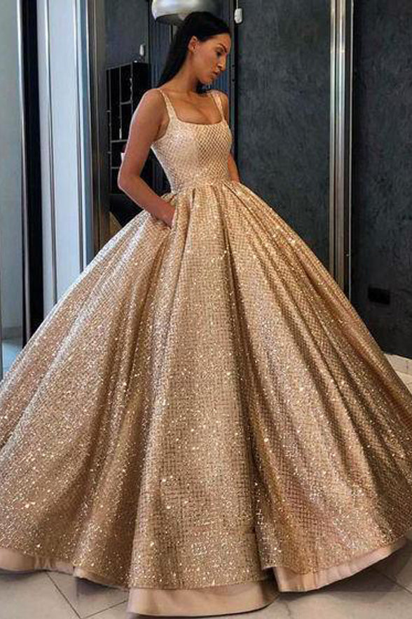 Ball Gown Shiny Sequin Prom Dresses With Pocket Formal Evening Quinceanera Dress LD1999