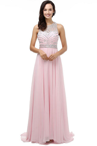 A Line Pink Chiffon Beads Open Back Long Prom Dresses Party Gowns LD199