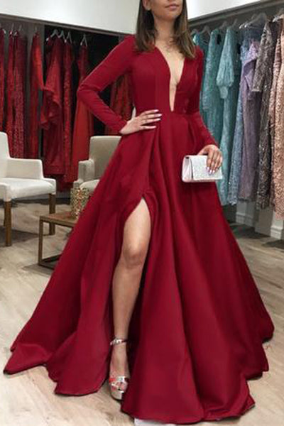 Simple Long Sleeves Deep V Neck Burgundy Formal Prom Dress Evening Party Gown Dresses LD2003