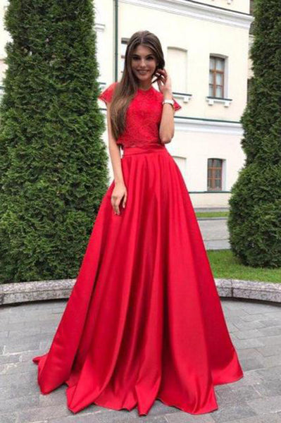 2 Peces High Neck Red Lace Cap Sleeves Long Formal Prom Dress Evening Party Gown Dresses LD2004