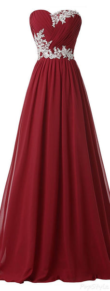 Sweetheart Burgundy Chiffon Ruffles White Lace Prom Dresses Party Gowns LD200