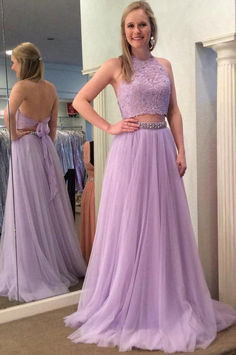 Open Back High Neck Lilac Beaded Long Two Piece Prom Dress Formal Evening Party Dresses LD2011