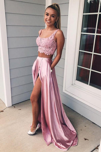 Two Piece Lace Pink U Neck Backless Prom Dress With Pocket Formal Evening Party Dresses LD2015