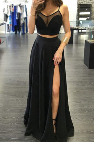 Black Chiffon Two Piece Front Slit Prom Dresses Party Dress Evening Gowns LD201