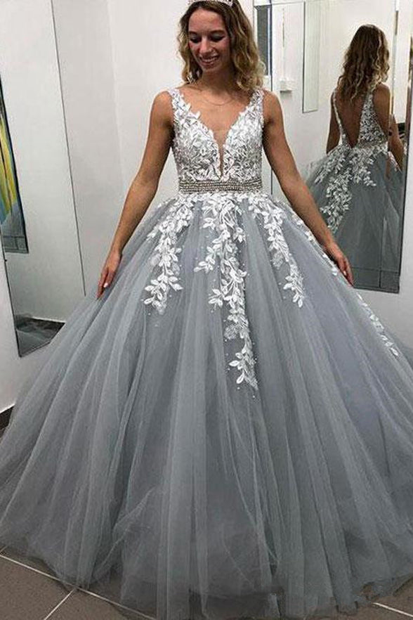 Grey Blue Satin White Lace Backless V Neck Prom Dress Formal Evening Grad Gown Dresses LD2020