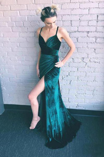 Fashion Open Back Spaghetti Straps Velvet Slit Mermaid Prom Dresses Formal Evening Dress LD2024