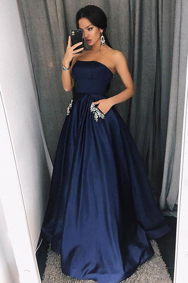 Elgant A Line Strapless Navy Blue Long Prom Dresses Formal With Pocket Evening Party Dress LD2027
