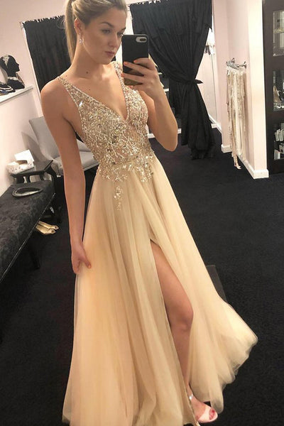 Fashion V Neck See Through Beaded Slit Long Prom Dress Formal Evening Fancy Dresses LD2033