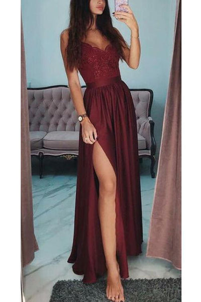 Fashion Burgundy A Line Spaghetti Straps Lace Long Prom Dress Formal Evening Grad Dresses LD2034