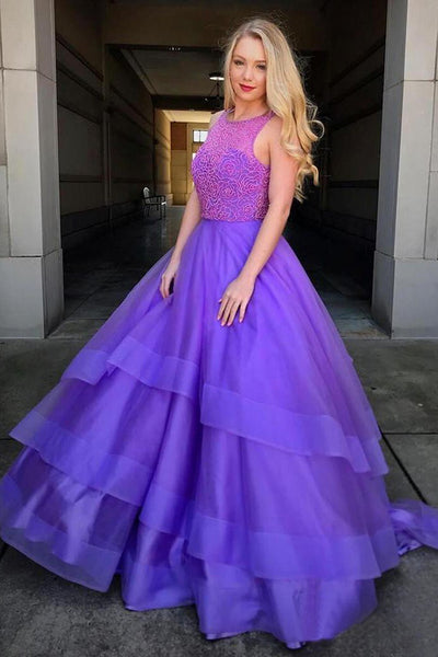 Purple High Neck Beaded Ball Gown Prom Dress Formal Evening Grad Quinceanera Dresses LD2035