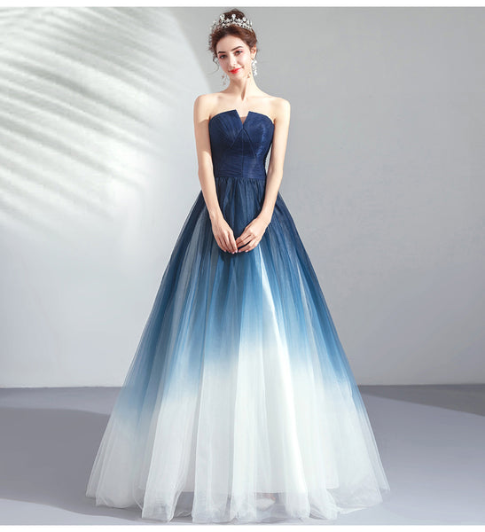 New Navy Blue Ombre Tulle Strapless Long Prom Dress Formal Evening Grad Gown Dresses LD2039