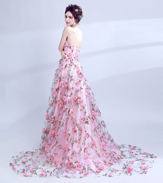 Charming A Line Strapless 3D Floral Pink Prom Dresses Long Formal Evening Grad Dress LD2040