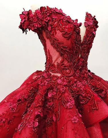 Luxurious Burgundy Lace Ball Gown 3D Floral Prom Dresses Formal Evening Quinceanera Dress LD2041