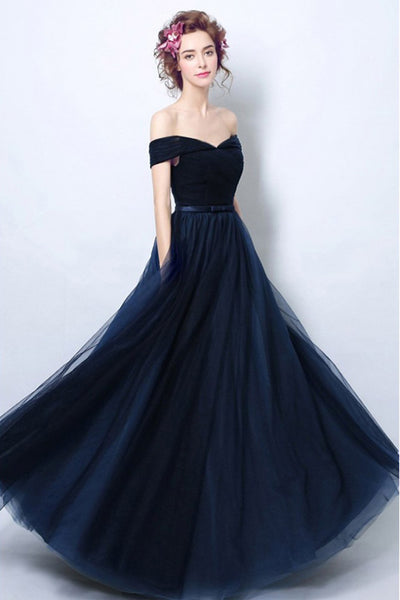 Simple Navy Blue Tulle Off the Shoulder Long Formal Prom Dresses Evening Grad Dress LDD2042
