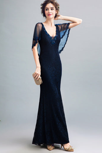 New 2019 V Neck Navy Blue Lace Mermaid Prom Dresses With Tippet Long Formal Evening Dress LD2043