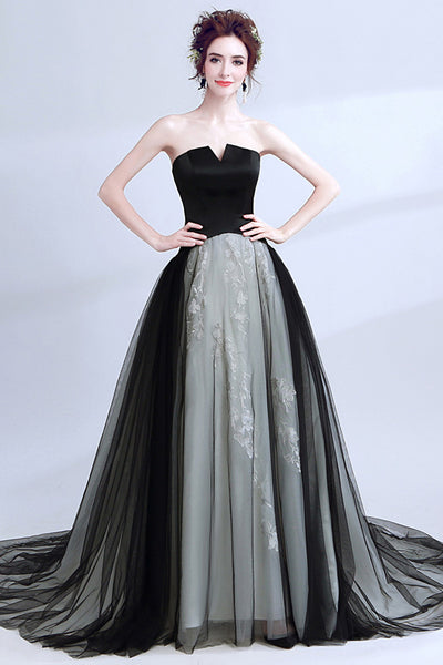 New Arrival Black Tulle Lace Appliques Long Formal Prom Dresses Evening Grad Dress LD2044