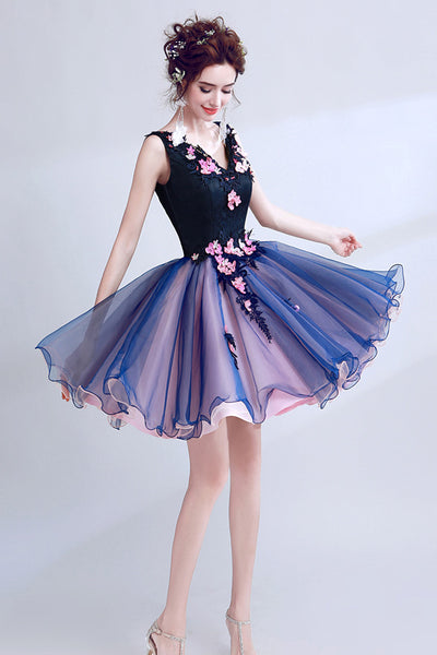 Charming V Neck Royal Blue Pink 3D Floral Short Prom Dresses Formal Homecoming Dress LD2047