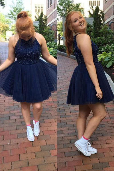 Chic Halter Back O Navy Blue Beaded Short Prom Dresses Formal Homecoming Dress LD2048