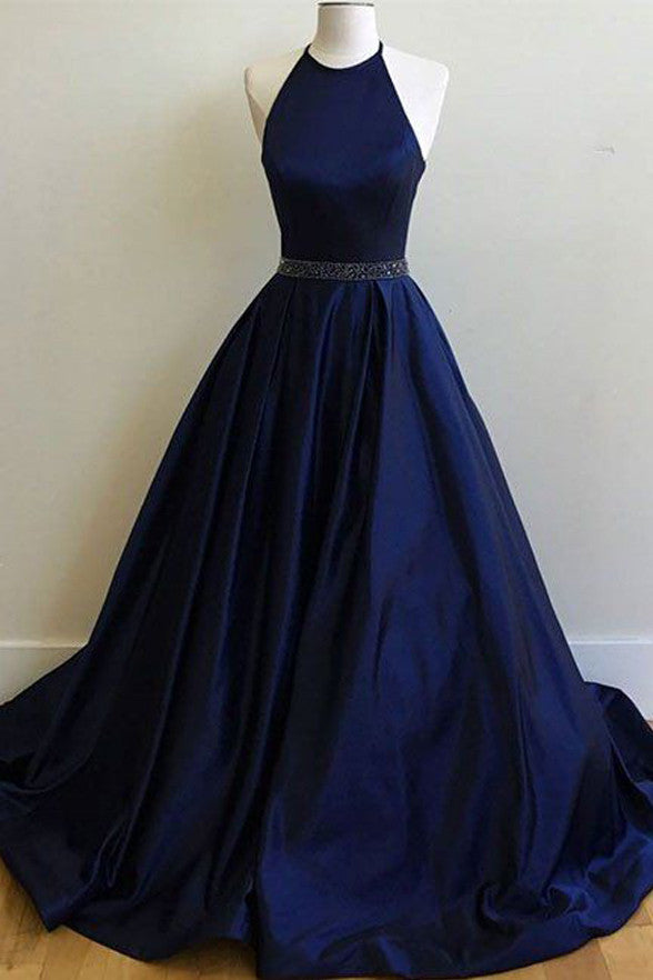 Dark Blue Halter Beaded Long Prom Dresses Evening Gowns Party Dress LD204