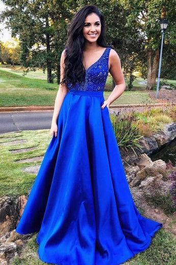 Charming A Line Royal Blue Satin Beaded Long Prom Dresses Formal Evening Grad Dress LD2050