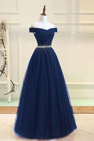 Fashion Navy Blue Tulle Off the Shoulder Beaded Long Prom Dresses Formal Evening Grad Dress LD2051