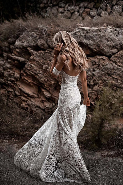 High Quality Lace Sweetheart Ivory Mermaid Outside Beach Wedding Dresses Bridal Gown Dress LD2058