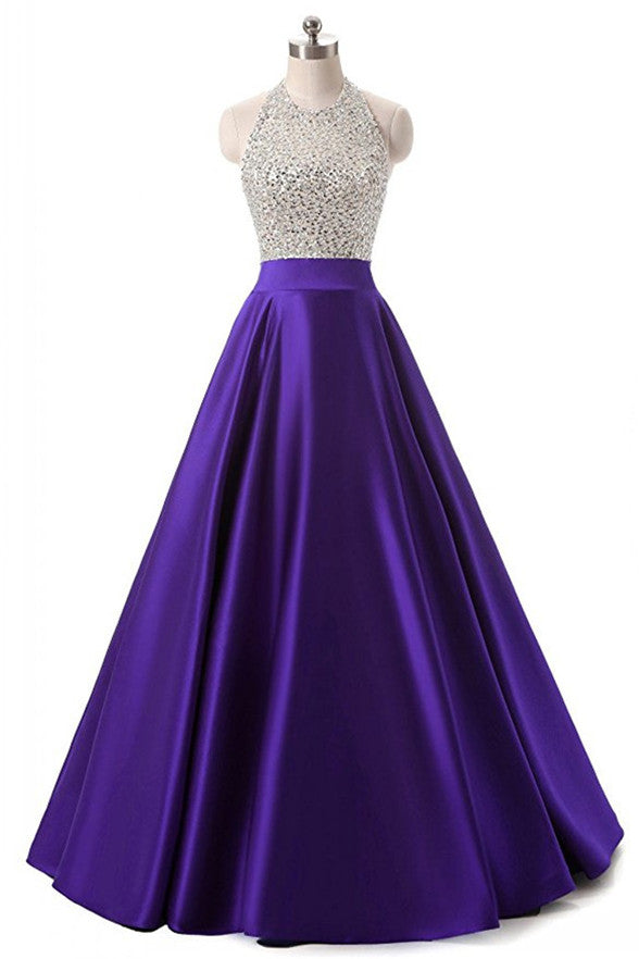 High Quality Purple Satin Beaded Long Prom Dresses Evening Gowns LD205
