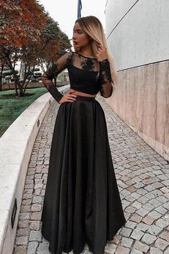 Chic Two Piece Black Lace Satin Long Sleeves Cheap Prom Dresses Formal Evening Grad Dress LD2061