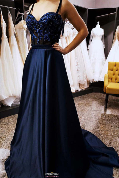 Navy Blue Satin Appliques A Line Straps Black Prom Dresses Formal Evening Grad Dress LD2063