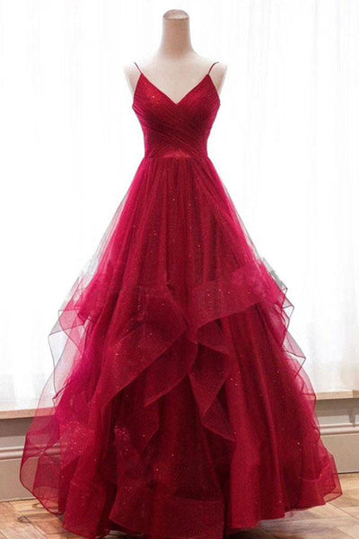 Fashion V Neck High Low Red Tulle Tiered Prom Dresses Formal Evening Grad Gown Dress LD2070