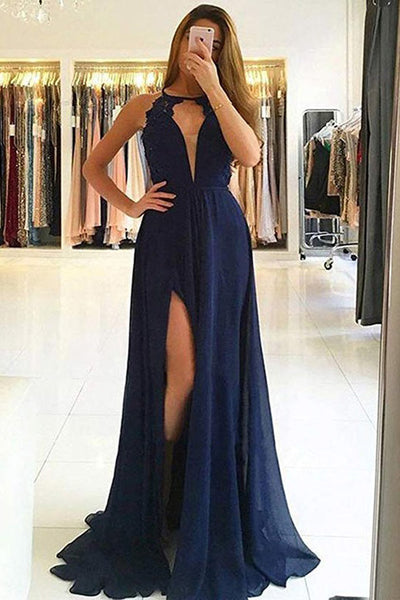 Deep V Neck Open Back Navy Blue Halter Split Prom Dresses Formal Evening Grad Dress LD2071