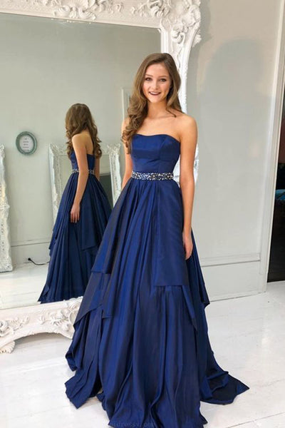 Chic A Line Strapless Royal Blue High Low Long Prom Dresses Formal Evening Grad Dress LD2072