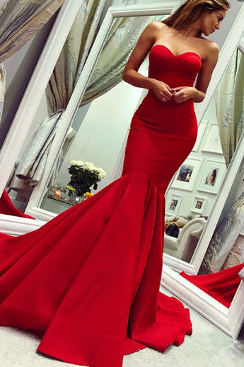 Elegant Strapless Red Satin Mermaid Long Sexy Prom Dresses Formal Evening Grad Dress LD2074