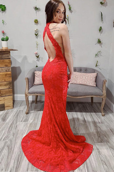 Open Back High Neck Red Lace Mermaid Long Prom Dresses Formal Evening Grad Dress LD2075