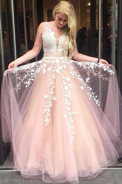 Fashion V Neck Pink Tulle White Lace Beaded Prom Dresses Formal Evening Grad Gown Dress LD2082