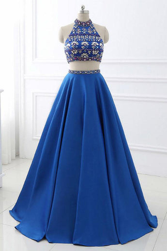 Two Piece High Neck Royal Blue Backless Crystal Long Prom Dresses Formal Evening Grad Dress LD2083