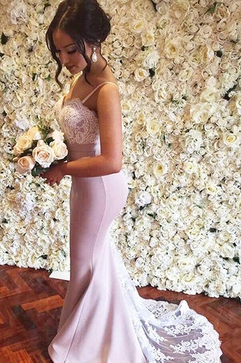 Fashion White Lace Pink Mermaid Sweep Train Long Prom Dresses Formal Evening Grad Dress LD2087