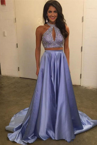 2 Piece Halter Lavender Beaded Long Fashion Prom Dresses Formal Evening Grad Dress LD2089