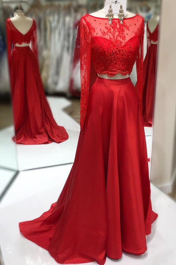 Long Sleeves 2 Piece Red Lace Back V Long Prom Dresses Party Gowns LD208