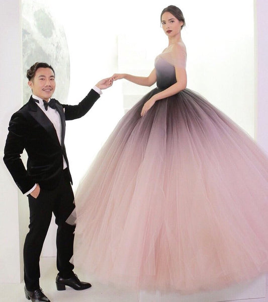Gradient Tulle Off the Shoulder Long Prom Dresses Formal Ombre Ball Gown Evening Grad Dress LD2091