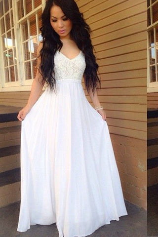 A Line Open Back Spaghetti Straps Lace White Long Prom Dresses Formal Evening Grad Dress LD2093