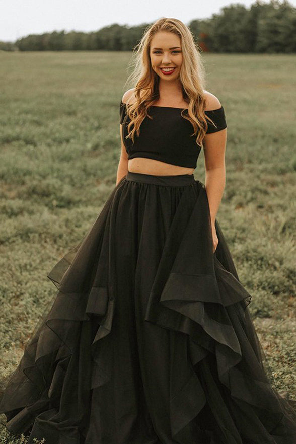Two Piece Black High Low Tiered Skirt Off the Shoulder Prom Dresses Formal Evening Grad Dress LD2098
