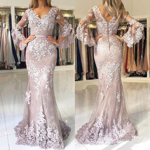 2019 New Trumpet Sleeves Lace Mermaid Long Prom Dresses Formal Evening Grad Dress LD2099