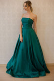 Strapless A Line Green Satin Long Elegant Prom Dresses Evening Party Gowns LD209