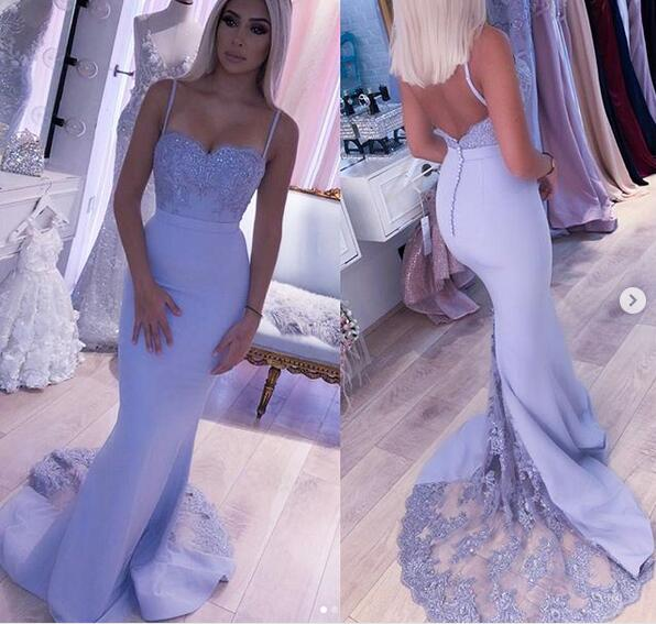 Chic Lace Lavender Spaghetti Straps Mermaid Long Prom Dresses Formal Evening Grad Dress LD2100