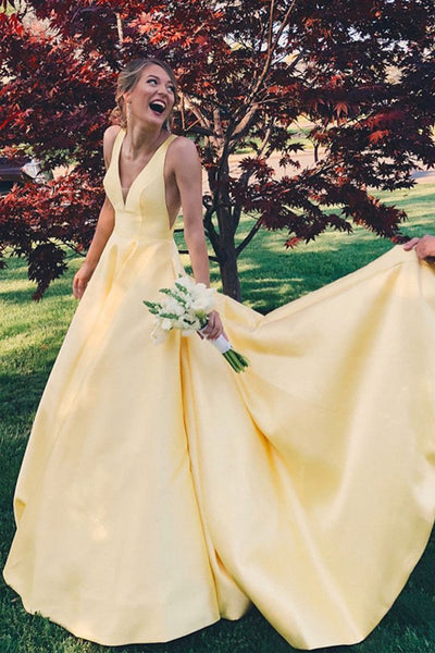 Simple V Neck Yellow Satin Open Back Cheap Long Prom Dresses Formal Evening Grad Dress LD2102