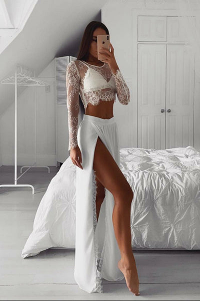 2 Piece Long Sleeves White Lace See Through Slit Prom Dresses Formal Evening Grad Dress LD2105